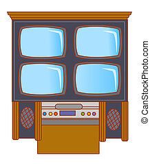 TV and acoustics - illustration drawing of TV and acoustics...