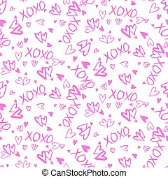Pattern with hand painted hearts - Grunge vector seamless...