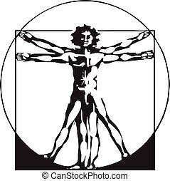 Da Vinci Vitruvian Man - woodcut style depiction based on...