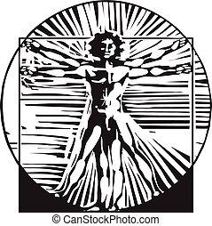 Woodcut Vitruvian Man - Eough woodcut style expressionist...
