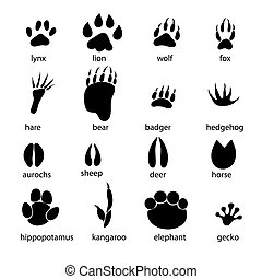 set of different animal tracks - graphic set of animal...