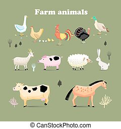 Set of farm animals, set in a flat vector style with chicken...
