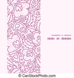 Vector pink flowers lineart vertical frame seamless pattern...