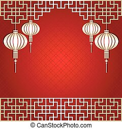 Chinese New Year Lantern Background - Golden Color Chinese...