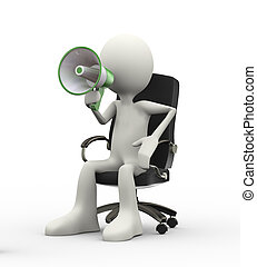 3d seated man speaking and shouting through megaphone - 3d...
