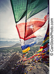 Prayer flags and City in Leh Ladakh, India