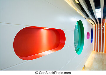 red void shef on wall ,interior