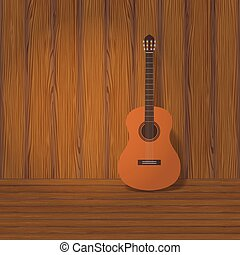 guitar - acoustic classical guitar with strings, vector...