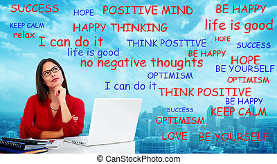Positive thinking woman - Positive thinking young woman...
