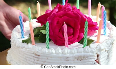 cake with candles and flower cut - cake with candles and...