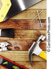 Tools - Assortment of tools on wood