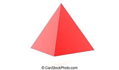 red pyramide - red pyramid in white background