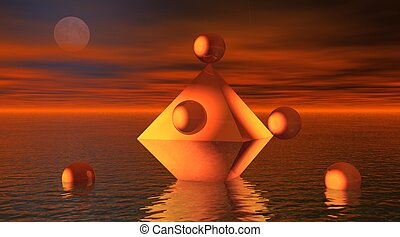 Octahedron in the sea with balls around