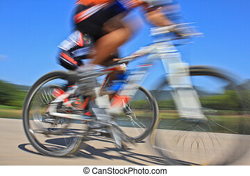 race - slow action of bicycle race