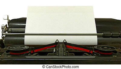 Empty sheet in old style typewriter isolated - Empty sheet...