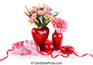 Valentines day - Flowers in vases, red heart glass,...