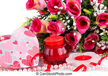Valentines day - Colorful flowers, candles and gift box...