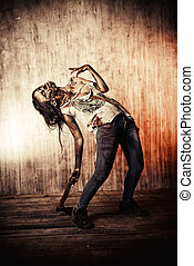 night zombie - Scary bloody zombie girl with an ax Halloween...