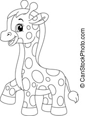 Little giraffe coloring page - Illustration of little cute...