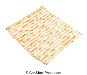 Single machine made matza flatbread piece isolated over the...