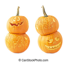 Two Halloween pumpkin composition isolated - Two...