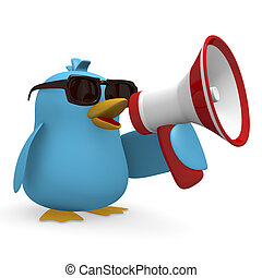 Message - Cool blue bird with a megaphone on a white...