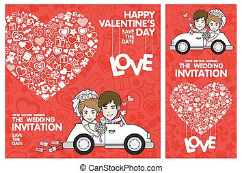 Wedding Invitation Card Valentine Card Vector and...