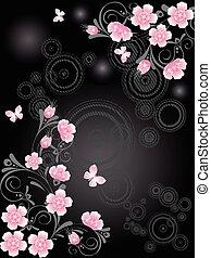 Sakura floral branch - Pink Sakura floral branch, on black...