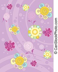 multi-colored flowers on a lilac background