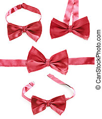 Red bow tie isolated over the white background, set of four...