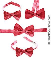cravate, isolé, rouges, arc