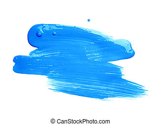 Hand made oil paint brush stroke isolated over the white...