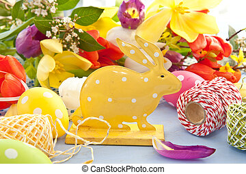 Easter bunny with colorful flowers
