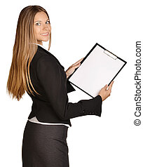 Business woman standing sideways and holding in hands...