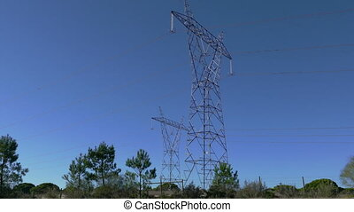 View Electro Power Line Pillars, side view from car
