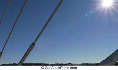 Cable-Stayed Bridge in Motion, POV view from car