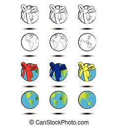 World with a gift ribbon. Vector eps10.
