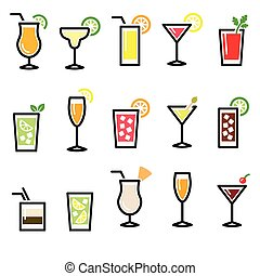 Cocktails, drinks glasses vector ic - Alcohol icons set -...