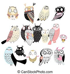 set of different owls - funny set of graphic owls on white...