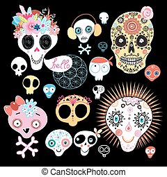 set of funny skulls - graphic set funny skull on a black...