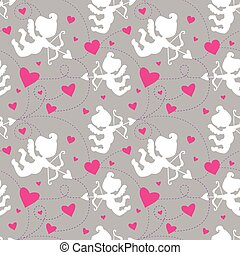 Seamless pattern with cupids. - Seamless Vector Valentine...
