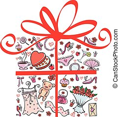 Gift Ideas for girl in gift shape - different nice things...