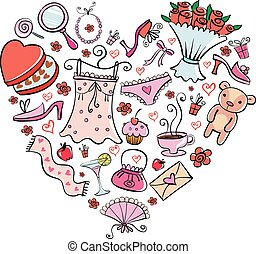 Gift Ideas for girl in heart shape - different nice things...