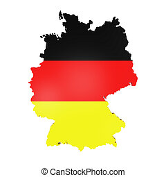 Map of Germany isolated on white background. 3D render