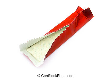 Bubble gum - Chewing gum in red shiny wrapper isolated on...