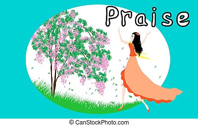 Praise - Beautiful girl praise the lord with dance-vector...