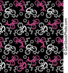 Black Seamless cycling pattern with cycling icons . Vector...