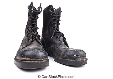 Pair of Boots - Black Dirty army boots isolated on white...