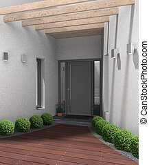 modern entrace with front door - fictitious 3D rendering of...