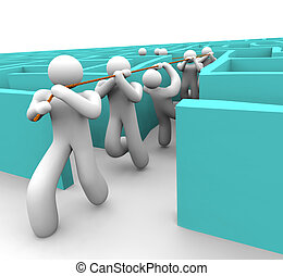 Leading the Team Out of a Maze - A leader pulls his team out...